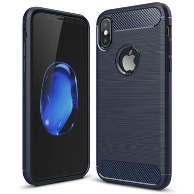 Full Protection Carbon Fibre iPhone X Case - Blue
