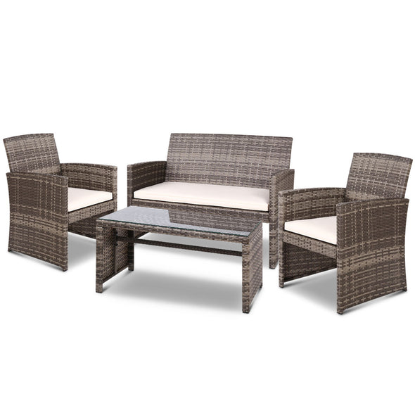 Gardeon Set of 4 Outdoor Rattan Chairs & Table - Grey