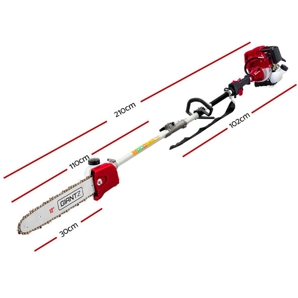 Giantz Pole Chainsaw 4 Stroke Petrol Hedge Trimmer Pruner Chain Saw Long