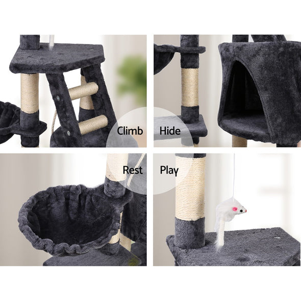 i.Pet Cat Tree 120cm Trees Scratching Post Scratcher Tower Condo House Furniture Wood Multi Level