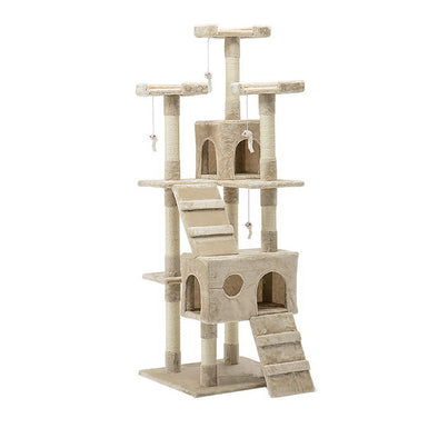 i.Pet Cat Tree 180cm Trees Scratching Post Scratcher Tower Condo House Furniture Wood Beige