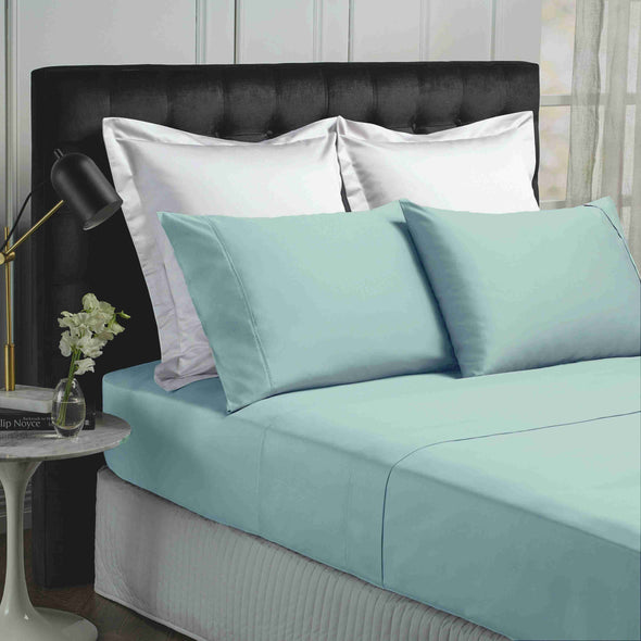 Park Avenue 500 Thread count Cotton Bamboo Sheet sets Double Blue Fog