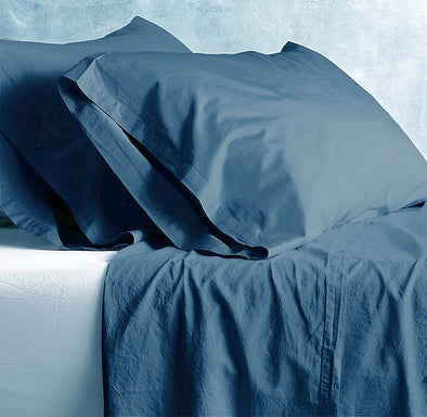 Park Avenue European Vintage Washed 100 % Cotton Sheet sets Queen - Blue