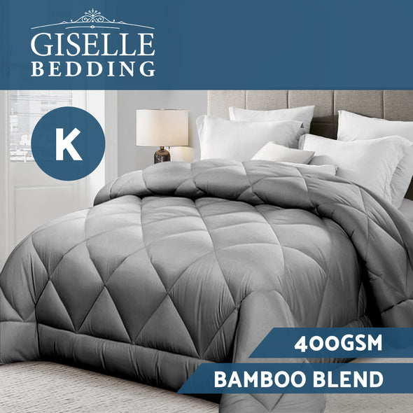 Giselle Bamboo Microfibre Microfiber Quilt 400GSM Doona King All Season Grey