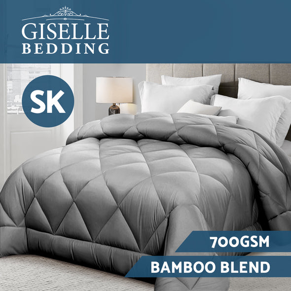 Giselle Bamboo Microfibre Microfiber Quilt 700GSM Duvet Cover SK All Season Grey
