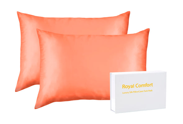 SILK PILLOW CASE TWIN PACK - SIZE:51X76CM - LIVING CORAL