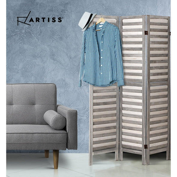 Artiss 8 Panel Room Divider Screen Privacy Wood Dividers Timber Stand Grey