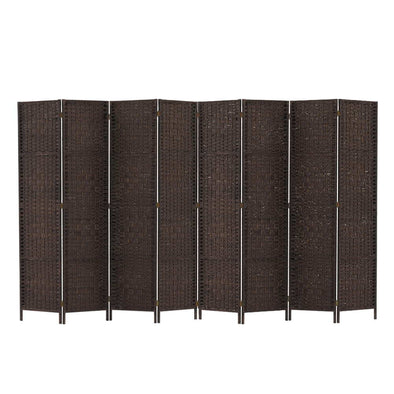 Artiss Room Divider 8 Panel Dividers Privacy Screen Rattan Wooden Stand Brown