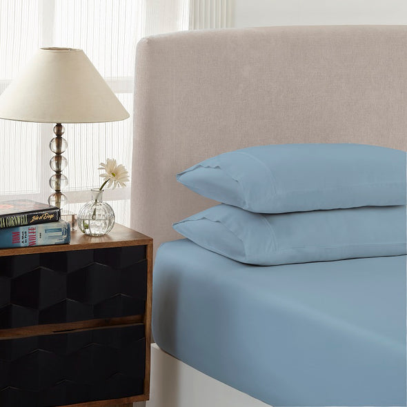 Royal Comfort 1500 Tc Cotton Rich Fitted Sheet 3 Pc Set Double-Indigo