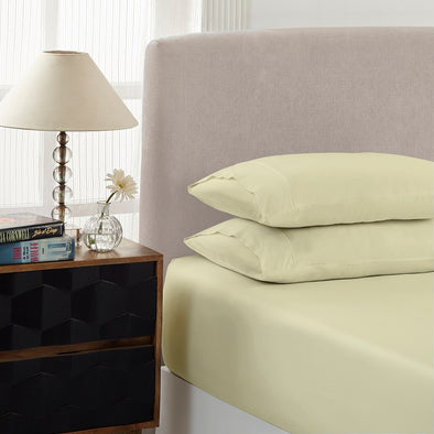 Royal Comfort 1500 Thread count Cotton Blend 3 Piece Fitted sheet Set Double Ivory