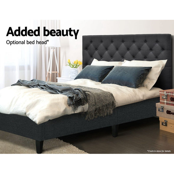Artiss King Size Bed Base Frame Mattress Platform Fabric Wooden Charcoal BRISK