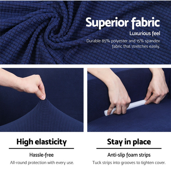 Artiss 2-piece Sofa Cover Elastic Stretch Couch Covers Protector 1 Steater Navy