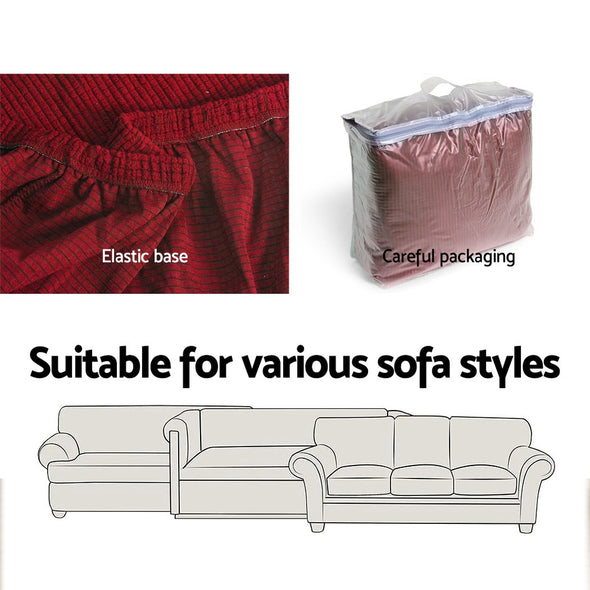 Artiss 2-piece Sofa Cover Elastic Stretch Couch Covers Protector 1 Steater Burgundy