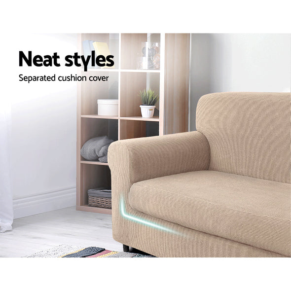 Artiss 2-piece Sofa Cover Elastic Stretch Couch Covers Protector 3 Steater Sand