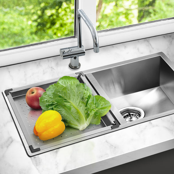Cefito Stainless Steel Double Sink and Colander