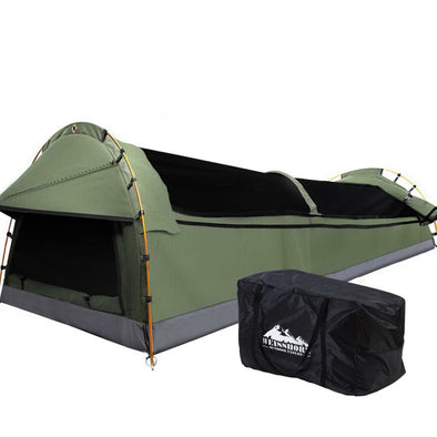 Weisshorn Swags King Single Camping Swag Canvas Tent Deluxe With Mattress