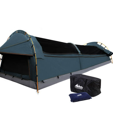 Weisshorn King Single Swag Camping Swag Canvas Tent - Navy