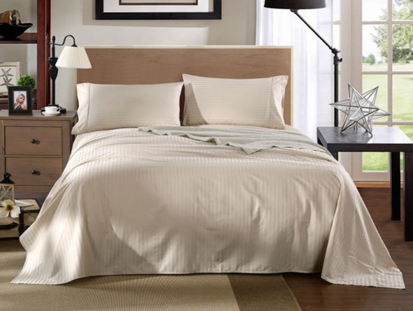 Kensington 1200TC Ultra Soft 100% Egyptian Cotton Sheet set in Stripe Mega King - Sand