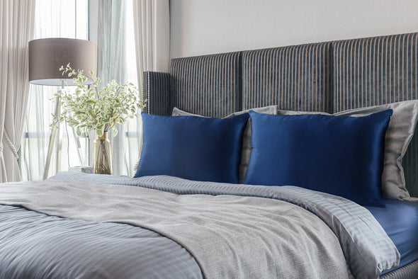 Pure Silk Pillow Case by Royal Comfort-Navy