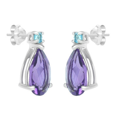 Orobelle Sterling Silver Majestic Earring featuring Genuine Amythyst and Topaz Gemstones