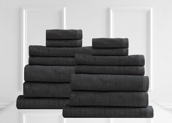 Style & Co Resort 600 GSM Egyptian Cotton Jacquard 14 Piece Towel Pack  - Charcoal Coconut