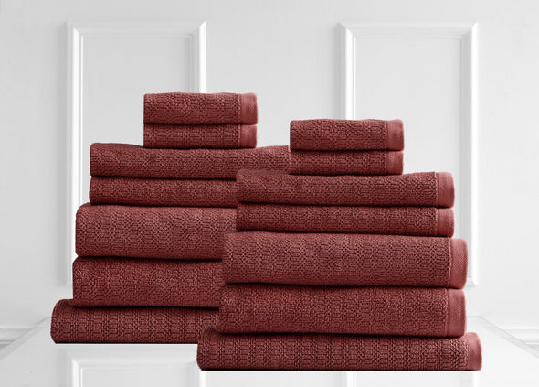 Style & Co Resort 600 GSM Egyptian Cotton Jacquard 14 Piece Towel Pack  - Marsala