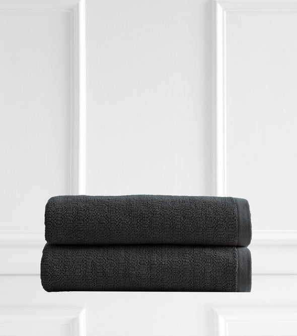 Style & Co Resort 600 GSM Egyptian Cotton Jacquard 2 Pack Bath Sheets - Charcoal Coconut