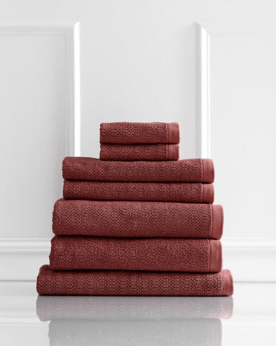 Style & Co Resort 600 GSM Egyptian Cotton Jacquard 7 Piece Towel Pack  - Marsala
