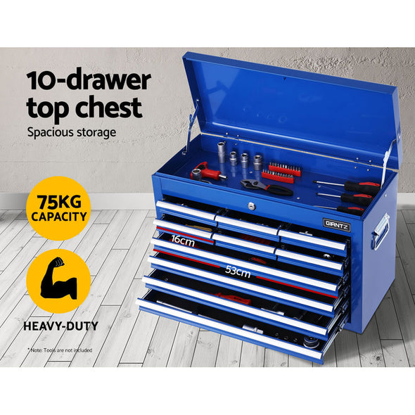 Giantz 17 Drawers Tool Box Trolley Chest Cabinet Cart Garage Mechanic Toolbox Blue