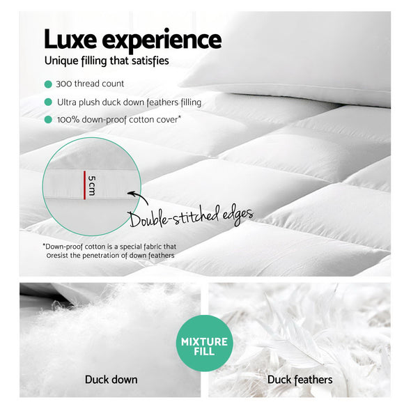 Giselle KING Mattress Topper Duck Feather Down 1000GSM Pillowtop Topper