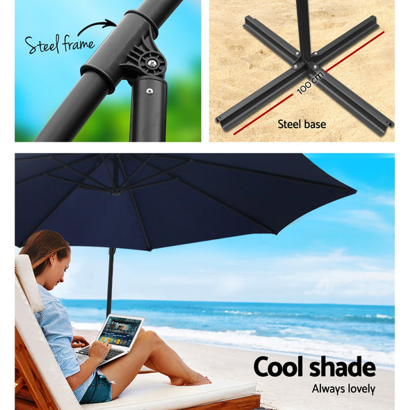 Instahut 3M Umbrella with 50x50cm Base Outdoor Umbrellas Cantilever Sun Stand UV Garden Navy