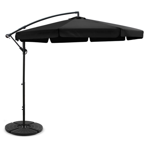 Instahut 3M Umbrella with 48x48cm Base Outdoor Umbrellas Cantilever Sun Beach UV Black