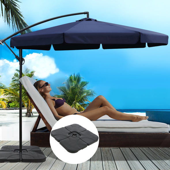 Instahut 3M Umbrella with 50x50cm Base Outdoor Umbrellas Cantilever Patio Sun Beach UV Navy