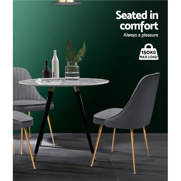 Artiss Dining Chairs Retro Chair Cafe Kitchen Modern Iron Legs Velvet Grey x2