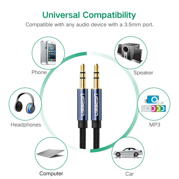 Ugreen 3.5mm male to 3.5mm male Audio cable white 2M 50368