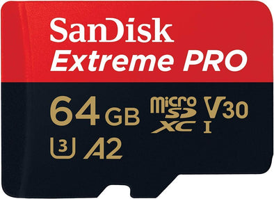 SANDISK  SDSQXCY-064G-GN6MA TF Extreme PRO A2 V30 UHS-I/U3 170R/90W WITH SD ADAPTER