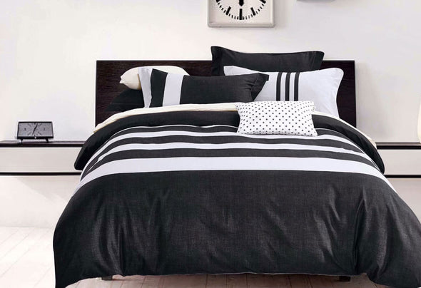 King Size 3pcs Black White Striped Quilt Cover Set
