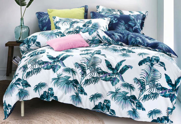 King Size 3pcs Tropical Plant Quilt Cover Set
