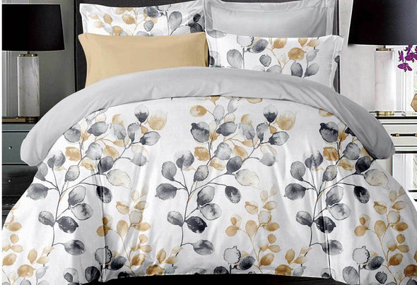 Super King Size 3pcs Idina Leaf Pattens Quilt Cover Set