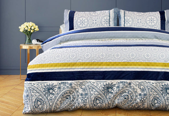 Double Size 3pcs Dessin Velvet Panel Embossed Quilt Cover Set