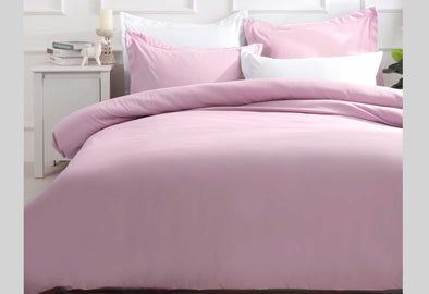 Super King Size Pink Color Quilt Cover Set (3PCS)