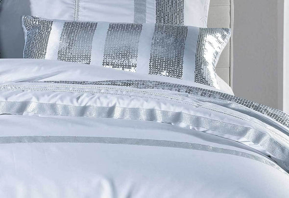 King Size White Striped Sequins Quilt Cover Set(3PCS)