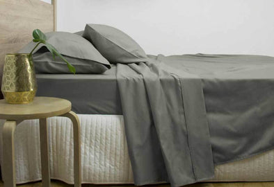 Super King Size 3000TC Cotton Rich Sheet Set (Charcoal Color)