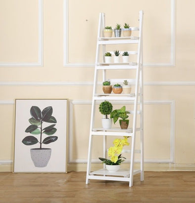 5 Tier Wooden Ladder Shelf Stand Storage Book Shelves Shelving Display Rack