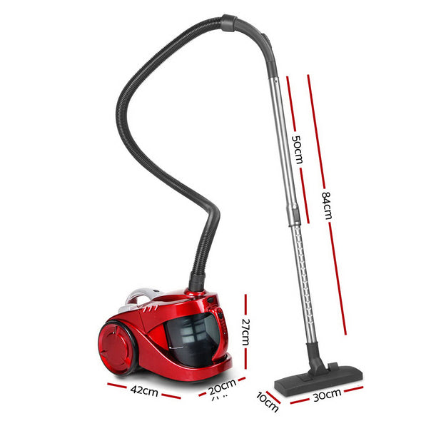 """Devanti Bagless Vacuum Cleaner Cleaners Cyclone Cyclonic Vac HEPA Filter Car Home Office 2200W Red"