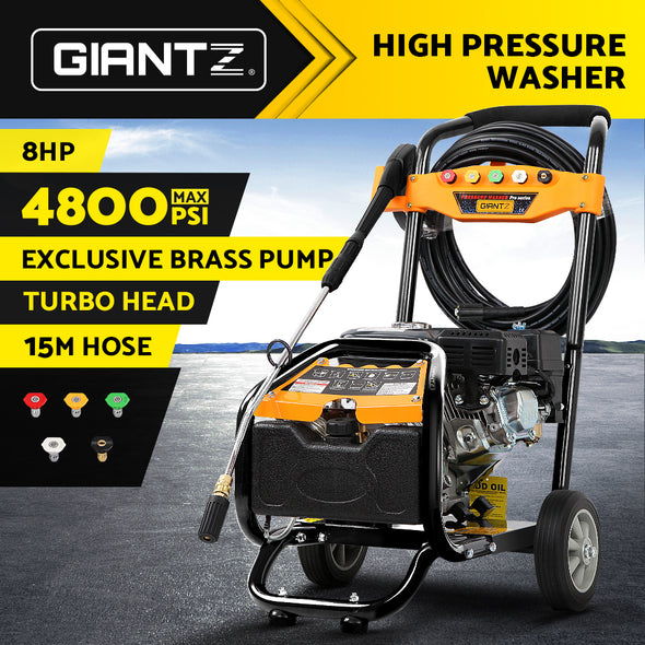 Giantz 4800PSI 8HP 15M Petrol High Pressure Cleaner Washer Water Jet Hose Gurney