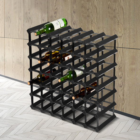 Artiss 42 Bottle Timber Wine Rack Wooden Storage Wall Racks Holders Cellar Black