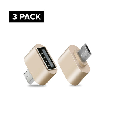 3-Packs Micro USB Adapter for Android Smartphones - Gold