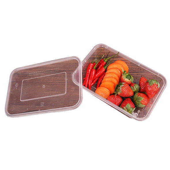 200 Pcs 500ml Take Away Food Platstic Containers Boxes Base and Lids Bulk Pack