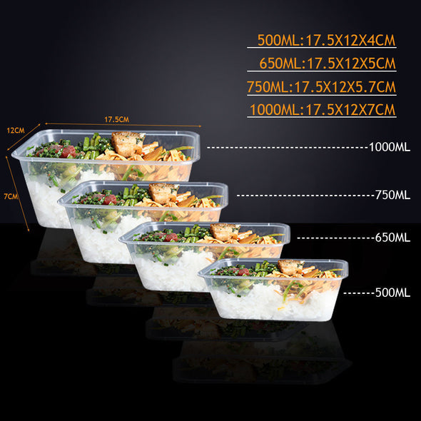 500 Pcs 650ml Take Away Food Platstic Containers Boxes Base and Lids Bulk Pack